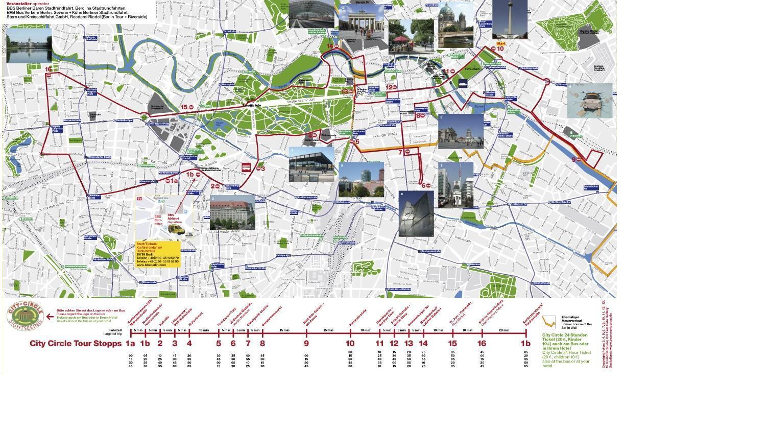 карта маршрута хоп-он Берлин