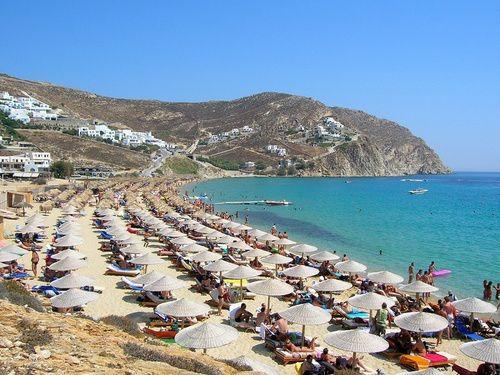 пляж на острове Миконос