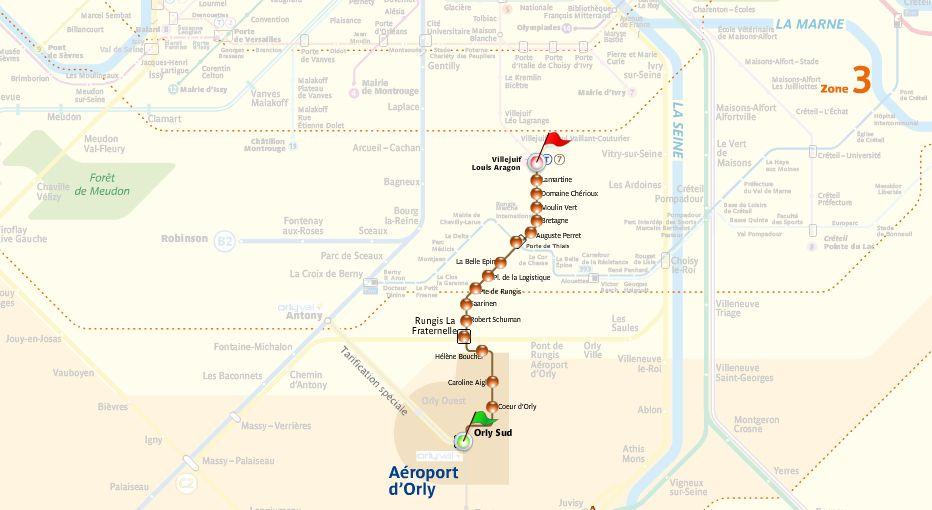 Схема остановок трамвая из аэропорта Орли, Париж