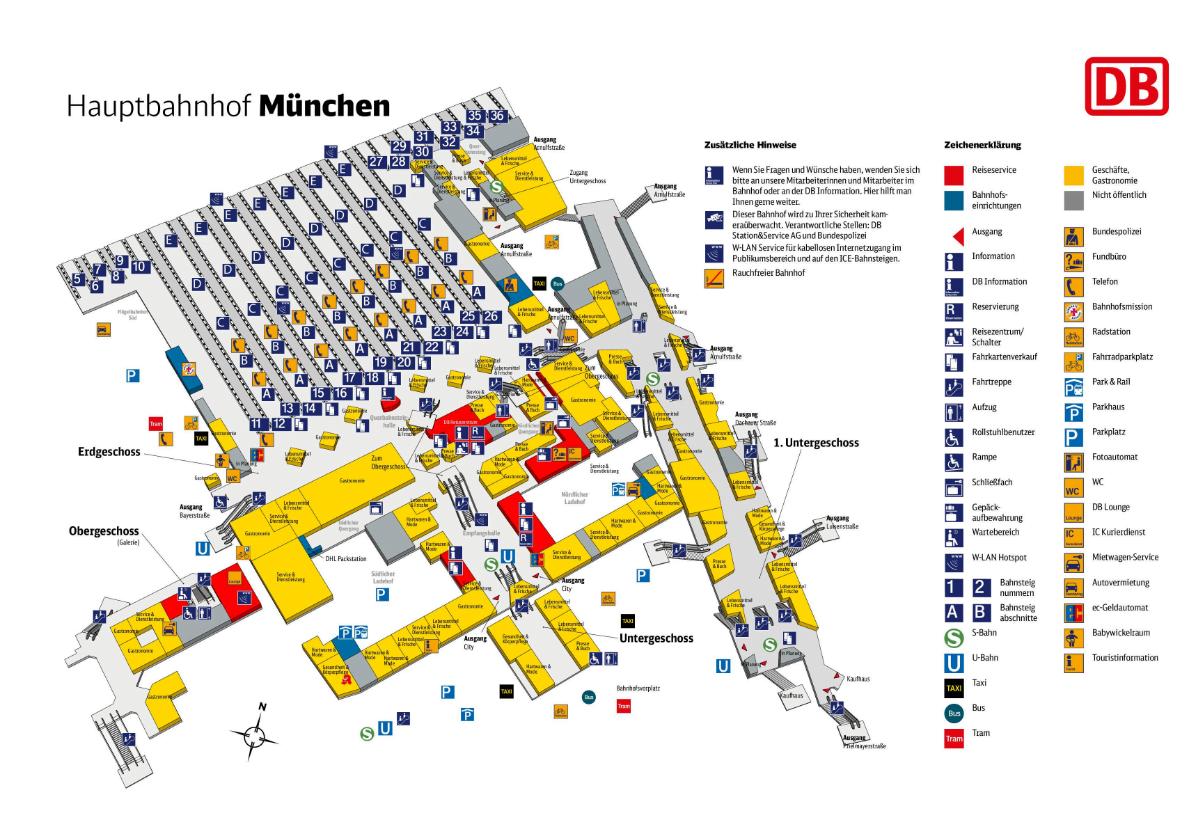 Мюнхен вокзал схема вокзала