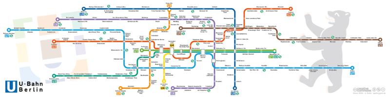 Карта станций метро Берлина