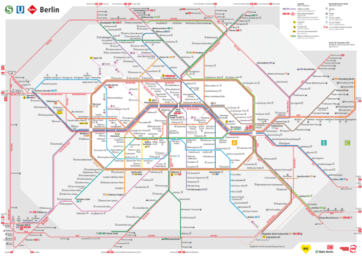 S+U-Bahn Схема метро Берлина с зонами