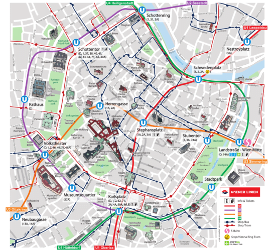 Схема общественного трансопрта Вены в центре