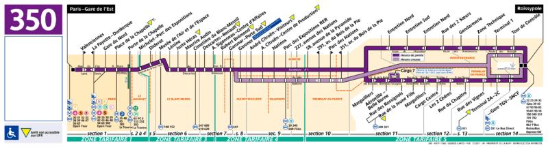 Маршрут автобуса 350 Шарль-де-Голль - Восточный вокзал