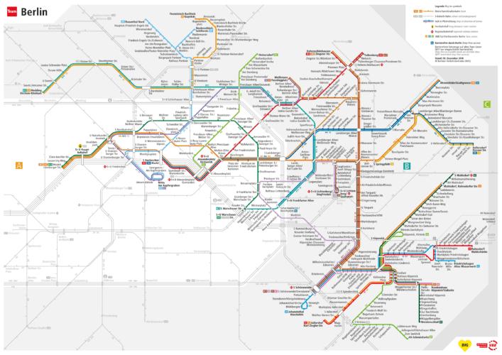 Схема маршрутов трамваев Берлина