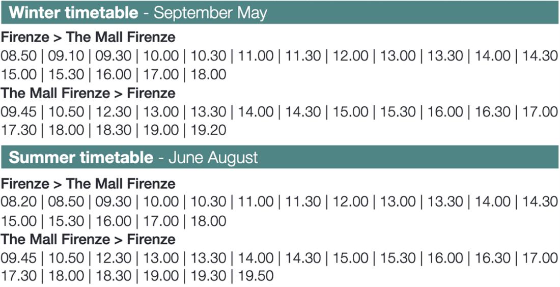 Зимнее и летнее расписание автобусов Флоренция – The Mall – Флоренция