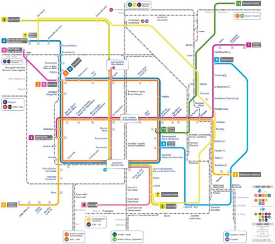 Схема метро Брюсселя