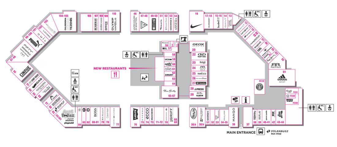Карта магазинов Premier Outlets Center