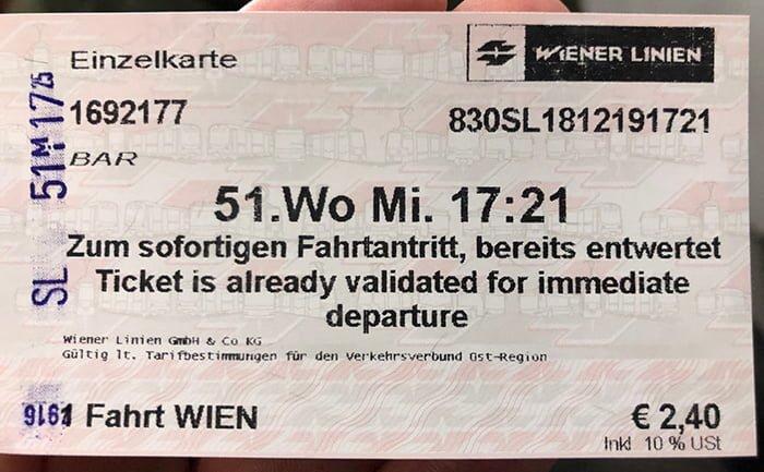 Билет метро Вены