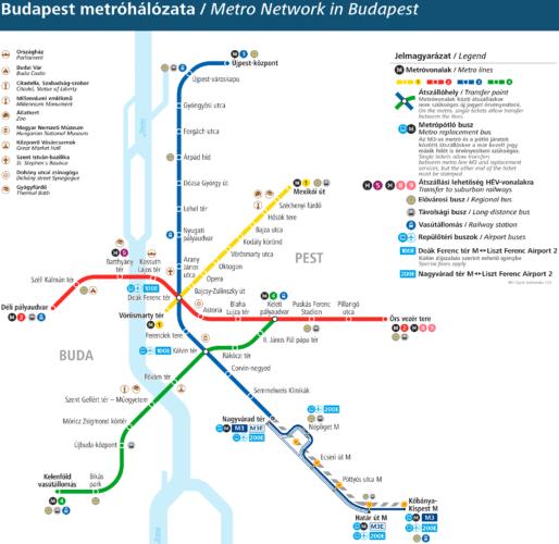 Схема метро Будапешта 2020