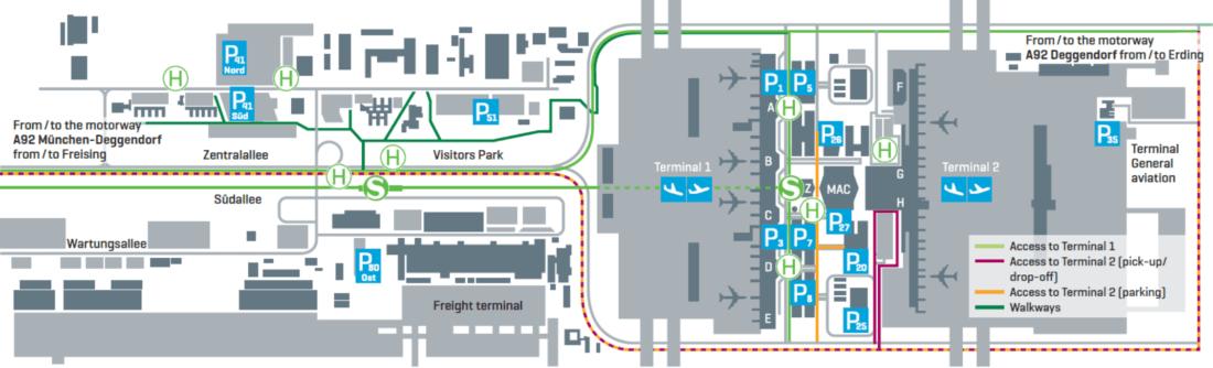 Карта парковок в аэропорту Мюнхена