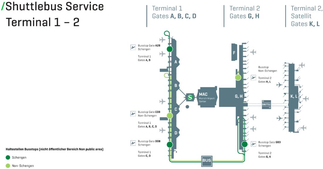 Шаттл между терминалами в аэропорту Мюнхена