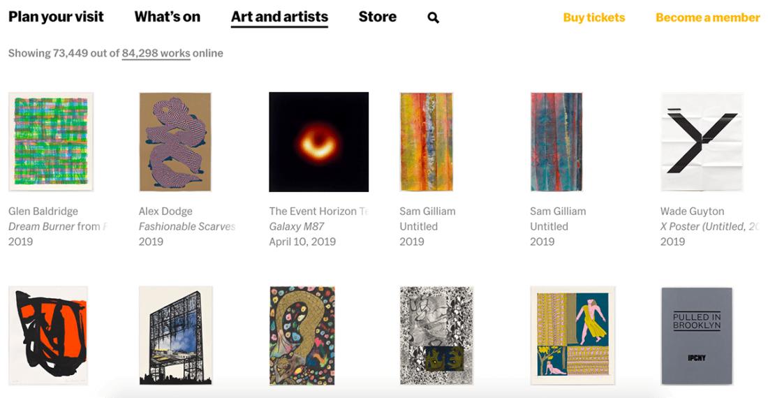 Экспонаты на сайте MoMA